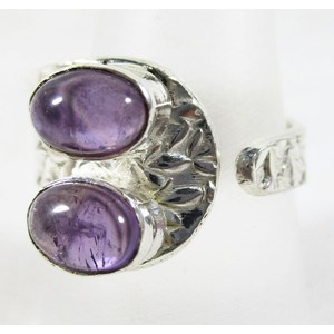 Double Amethyst Adjustable Ring