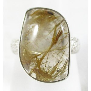 Angel Hair Quartz Silver Ring (Size R)