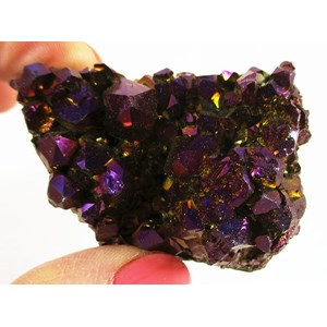Purple and Gold Aura Quartz Cluster