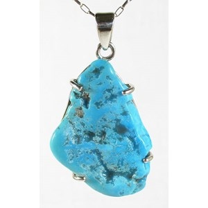 Sleeping Beauty Raw Turquoise Pendant