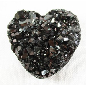 Deep Grey Aura Quartz Cluster Heart