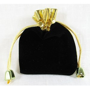 Black and Gold Velvet Pouch