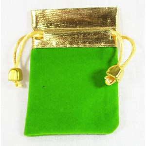 Green and Gold Velvet Pouch