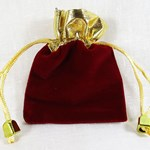 Dark Red and Gold Velvet Pouch