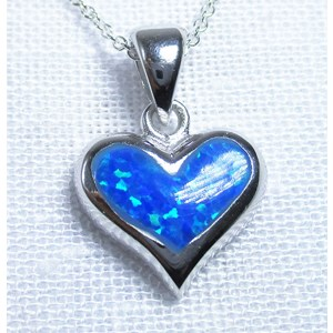Blue Opal Heart Necklace Small