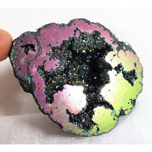 Pink and Gold Aura Quartz Geode