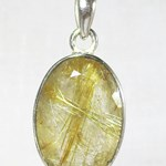 Angel Hair Oval Faceted Pendant