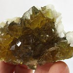 Honey Fluorite Cluster with Stilbite (Small)