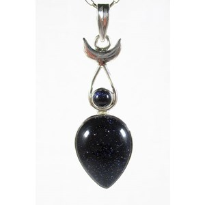Blue Goldstone Goddess Pendant