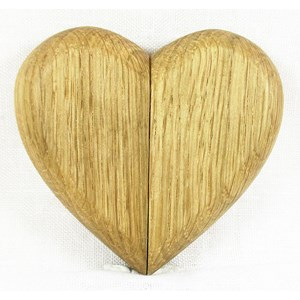 Eco Oak Heart Box for Secrets and Rings