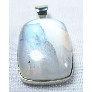 Rainbow Moonstone Rectangular Pendant