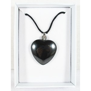 Haematite and Zirconia Heart Pendant